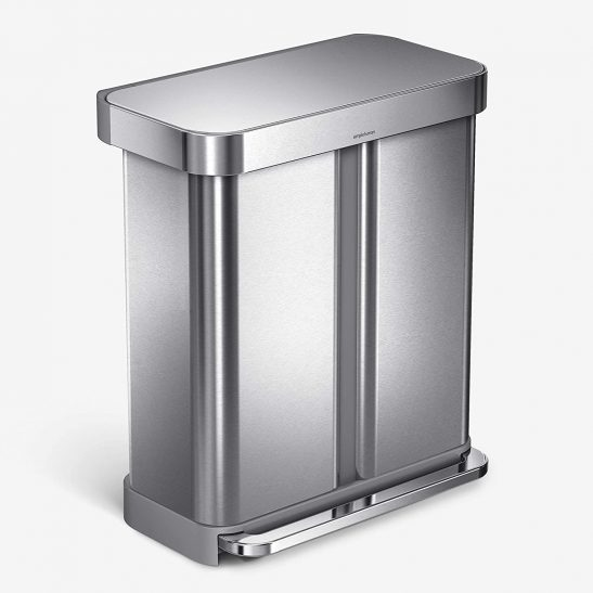 15.3 Gallon Simplehuman Rectangular Stainless Steel Kitchen Step Can