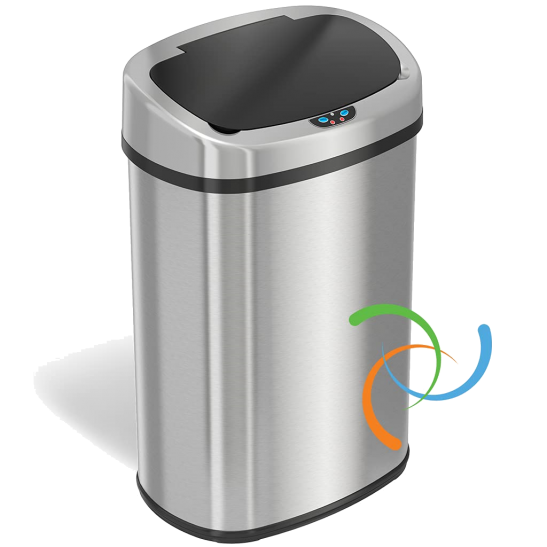 iTouchless 13 Gallon Automated Cooking Trash Can in Stainless Steel