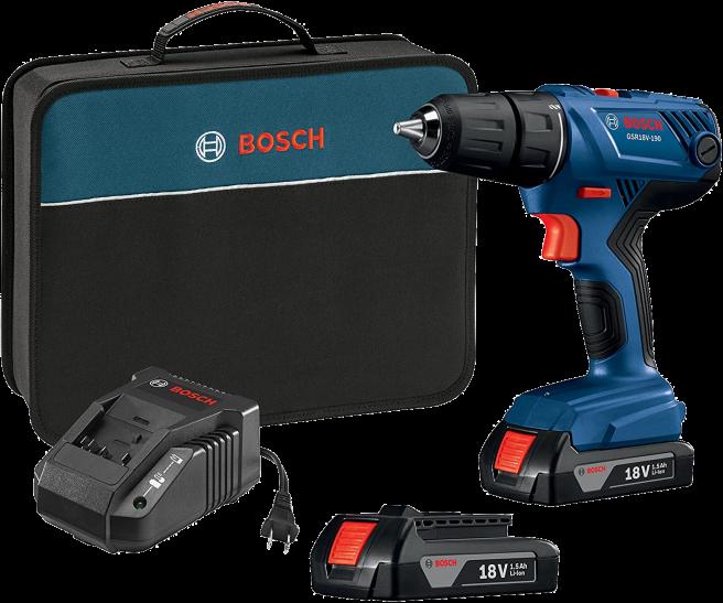 "Bosch 18V Drill/Driver Kit Compact 1/2"" with (2) Slim Pack GSR18V-190B22 Batteries"