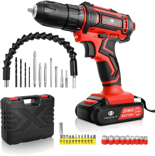 MOKENEYE 20V Driver Kit Cordless Drill Battery and Charger Power Drill+